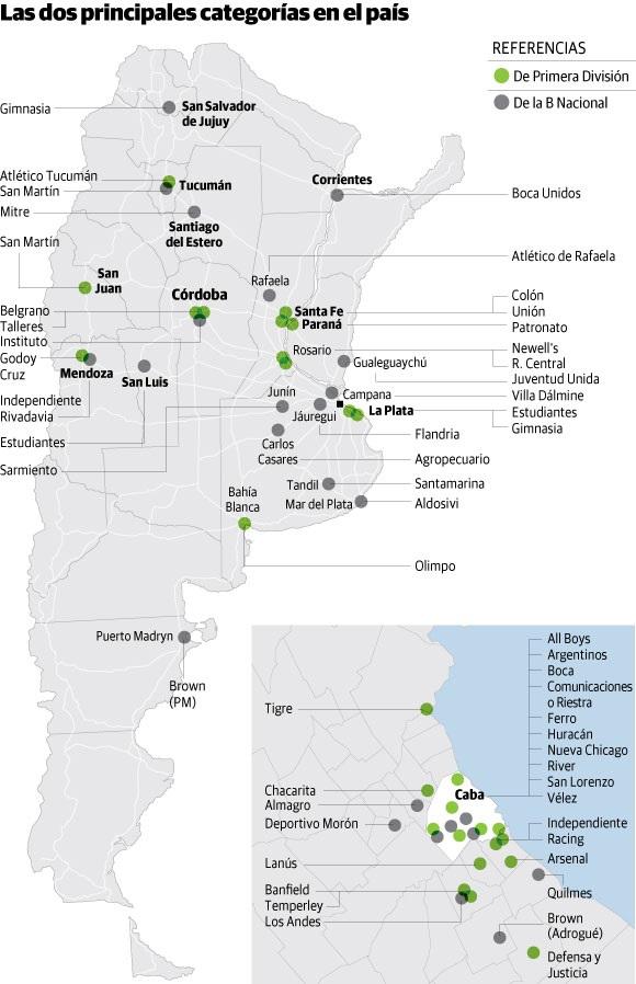 ποδοσφαιρικός χάρτης αργεντινής