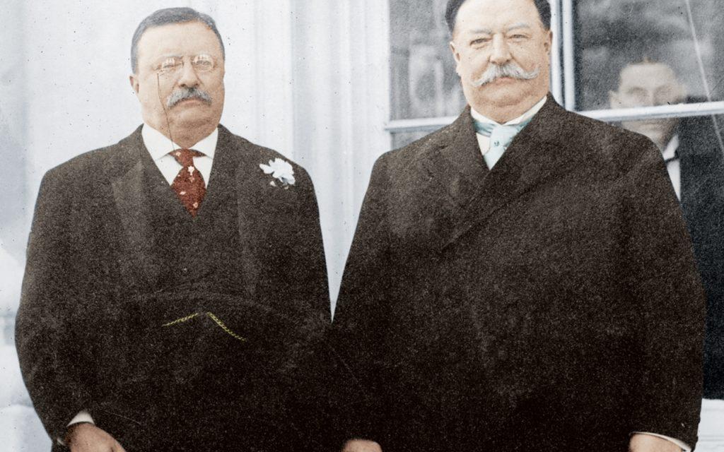 Ο Πρόεδρος Ταφτ (δεξιά) αν και δεν είχε κακή θητεία, πλήρωσε το ότι προϊόντος του χρόνου χάλασαν οι σχέσεις του με τον προκάτοχό του, τον Θεόδωρο Ρούσβελτ